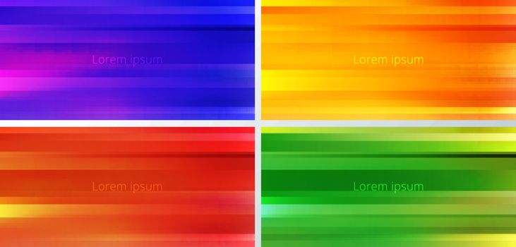 Set of abstract yellow, blue, red, green and orange gradient color blurred motion background. Stripes horizontal movement wallpaper. Vector illustration