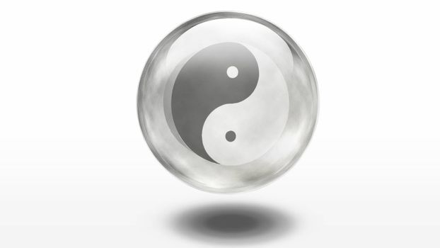 Yin Yang symbol is contained inside of glass sphere. 3D rendering
