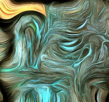 Dimensional Layered Abstract of Swirling Colors. 3D rendering