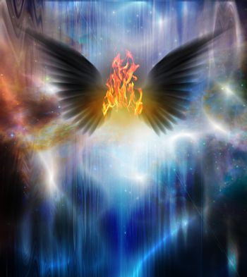 Black winged being of fire. 3D rendering