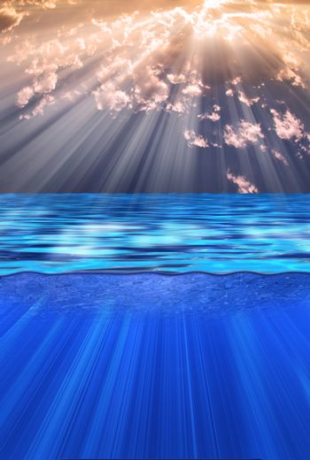 Sun rays over calm water. 3D rendering