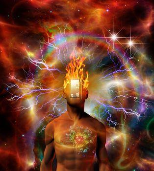 Burning mind in cosmic space. 3D rendering