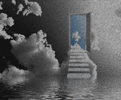 Opened door to another world. 3D rendering
