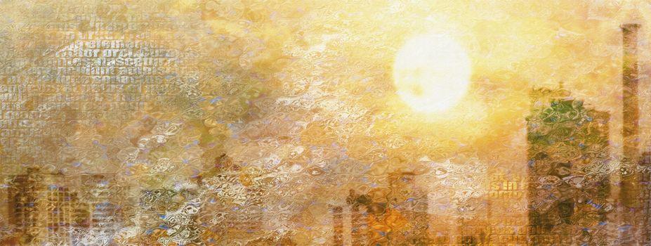 Impression City Sun. Modern art. 3D rendering