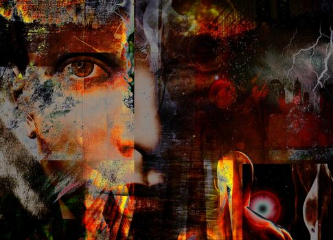 Mystic face. Surreal composition. 3D rendering