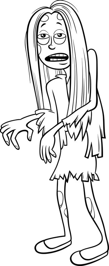 girl in zombie costume at Halloween party coloring book page