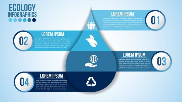 Infographic eco water blue design elements process 4 steps or options parts with drop of water. Ecology organic nature vector business template for presentation.