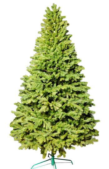 Artificial Christmas green tree without decorations on a metal stand isolated on a white background.