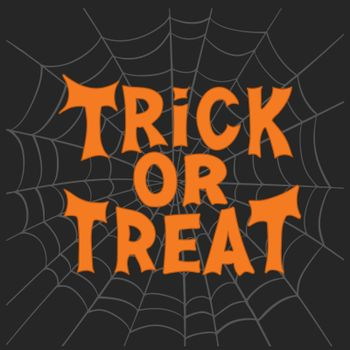 Trick or treat. Halloween traditional quote. Orange lettering on grey cobweb on dark background. Vector stock illustration.