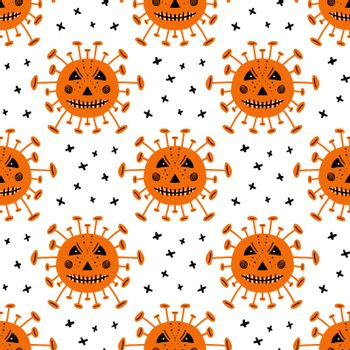 Coronavirus bacteria with scary face and crosses. Halloween seamless pattern. Isolated on white background. Vector stock illustration.