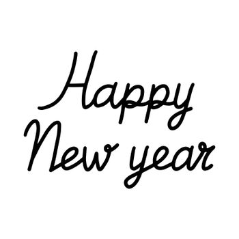 Happy New Year ink lettering. Isolated text illustration on white background. Can be used for winter holidays designs, prints, cards, wrapping.
