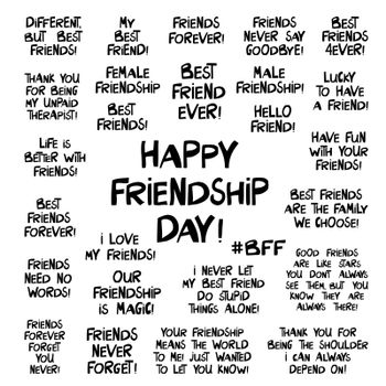 Set of quotes about about friendship. Lettering in modern scandinavian style. Isolated on white. Vector stock illustration.