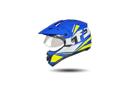 Multi colored motocross helmet isolated on white background.