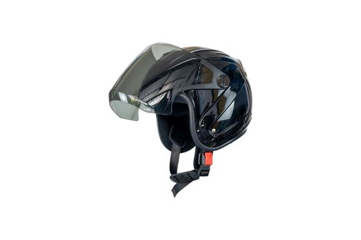 Side view of a black helmet isolated on white background.