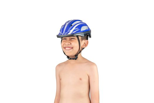 The boy wore a helmet for cycling,  skateboard, inline skates standing and smiling on a white background.