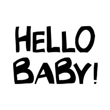 Hello baby. Cute hand drawn lettering in modern scandinavian style. Isolated on white background. Vector stock illustration.