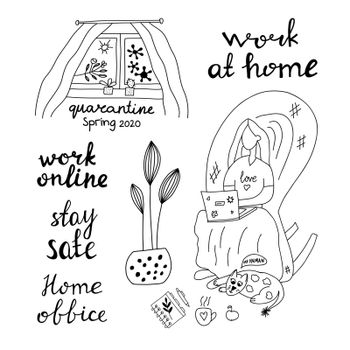 Hand drawn doodle insulation set. Work home, online, stay safe. Girl sitting in an arm chair working on a laptop. Cat lies at her feet. In the window is sun and bacterium. Stock illustration.