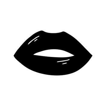 Flat doodle black open lips with flare. Isolated on white. Vector stock illustration.