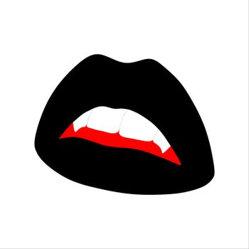 Trendy flat black open lips with vampire fangs. Isolated illustration on white. Vector stock illustration.