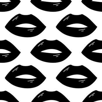 Seamless pattern made from flat doodle black open lips with flare. Isolated on white. Vector stock illustration.