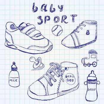 Baby shoes set sketch handdrawn on notebook paper