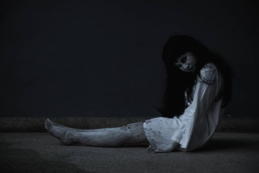 Woman ghost horror her dead and sleeping, halloween concept