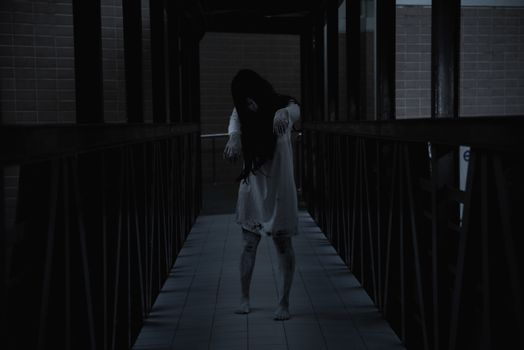 Woman ghost horror walking in the building house, halloween concept