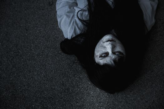 Woman ghost horror creepy close up her face, halloween concept