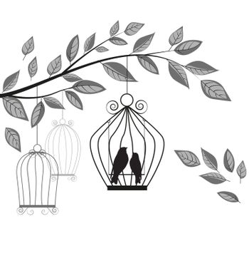 Vector illustration of a branch with a cage and birds.