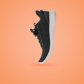 Fashion running sneaker shoe isolated on beautiful pastel color background, with clipping path.