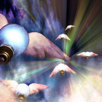 Winged ideas. Lightbulbs with wings. 3D rendering