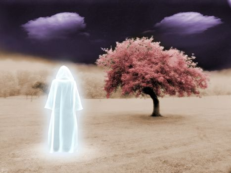 White wizard in unreal landscape. 3D rendering