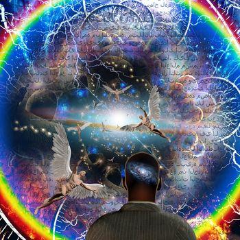 Tunnel of angels. Spiritual art. 3D rendering