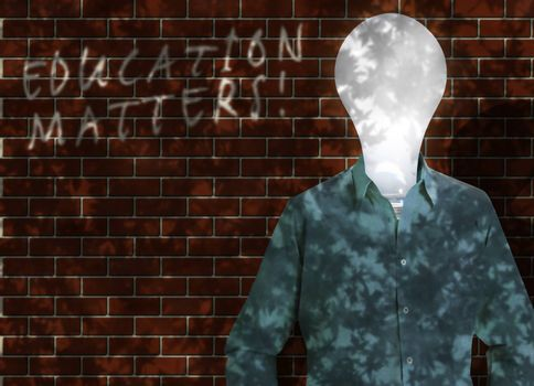 Lightbulb in a shirt. Education matters. 3D rendering
