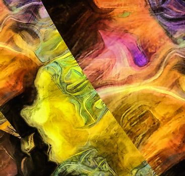Abstract painting in vivid colors. 3D rendering