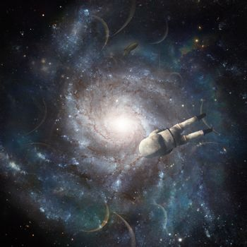 Astronaut in space. Bright galaxy. 3D rendering
