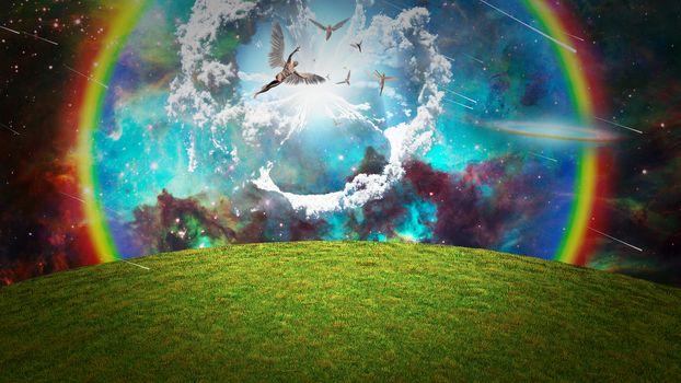 Angels in the sky. 3D rendering