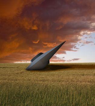 UFO crash. Retro sci fi art. 3D rendering