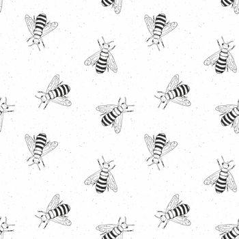 Bee hand drawn seamless pattern, monochrome background vector illustration