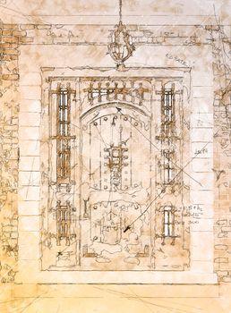 Artist Rendering Sketch of Beautiful Luxury Residential Front Door.