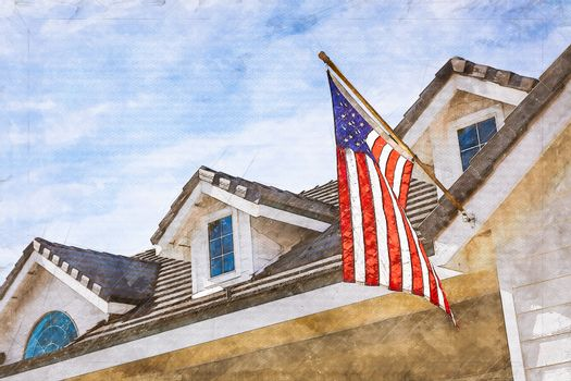 Artist Rendering of American Flag Hanging From House Facade.