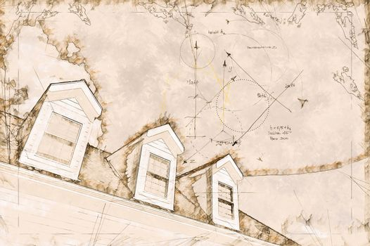 Artist Rendering Sketch of Residential Roof and Dormers.