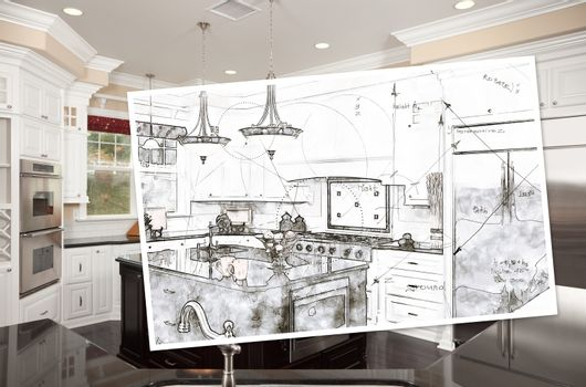 Beautiful Custom Kitchen Design Drawing On Paper Over Finished Photograph.