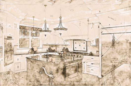 Beautiful Custom Kitchen Concept Design Drawing.