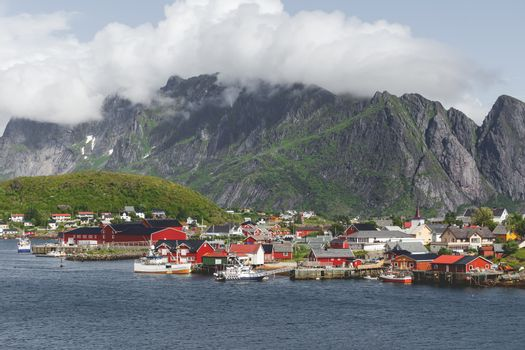 Scandinavian landscape with mountains and fjords. Panorama view