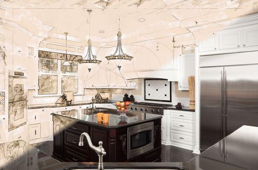Beautiful Custom Kitchen Design Drawing Cross Section Into Finished Photograph.