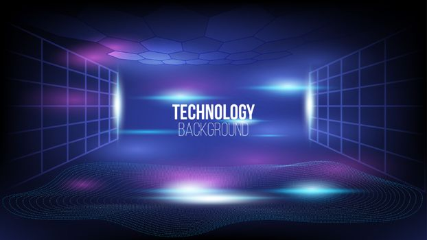 Abstract technology background Hi-tech communication concept, technology, digital business, innovation, science fiction scene vector illustration with copy-space.