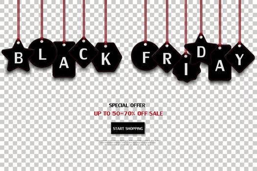 Black friday price tag isolated on transparent background,for advertising,shopping online,website or promotion,vector illustration