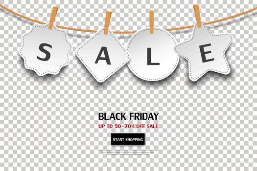 Black friday sale tag on transparent background,for advertising,shopping online,website or promotion,vector illustration