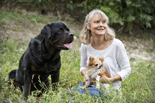 dogs and woman